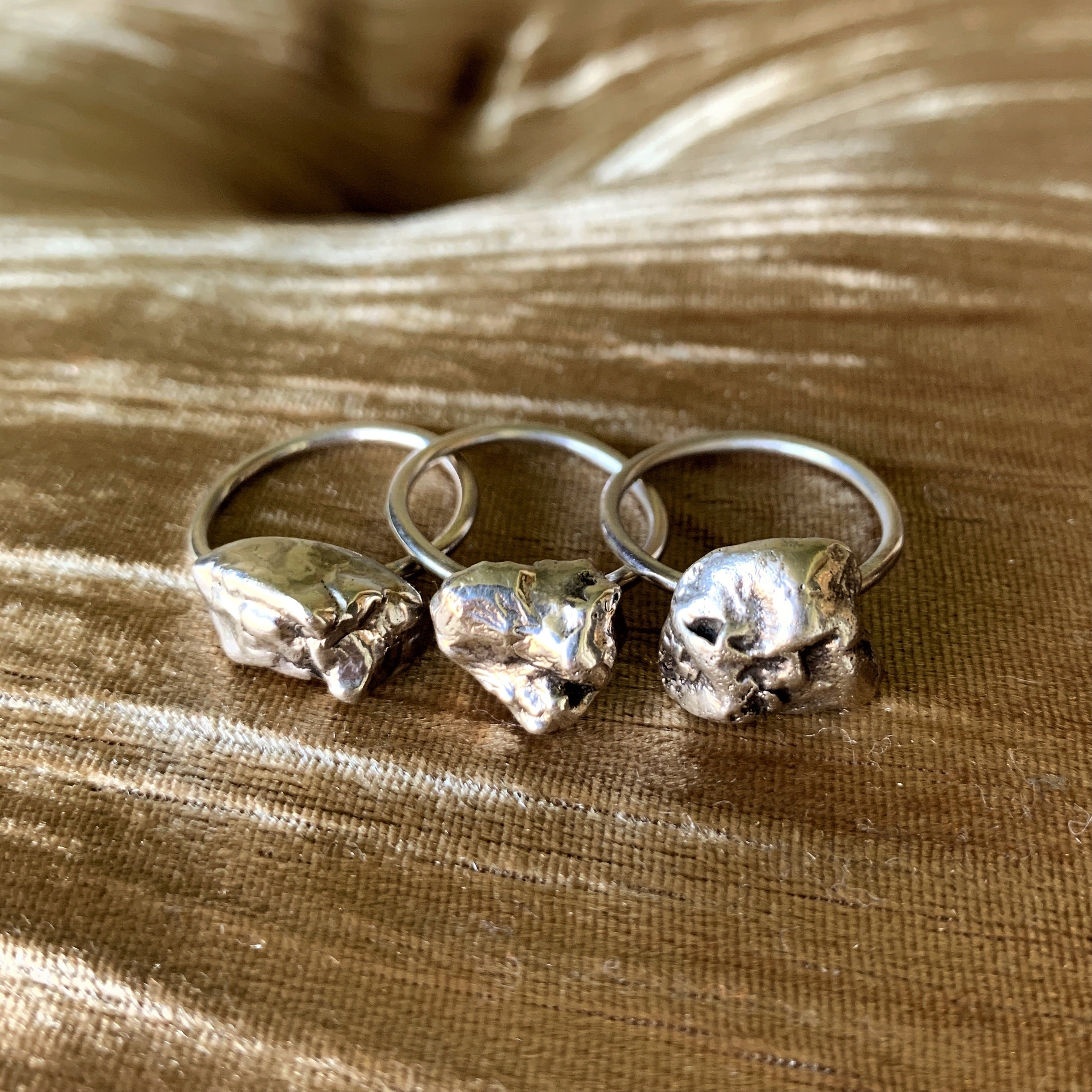 Silver Nugget Stacker Ring