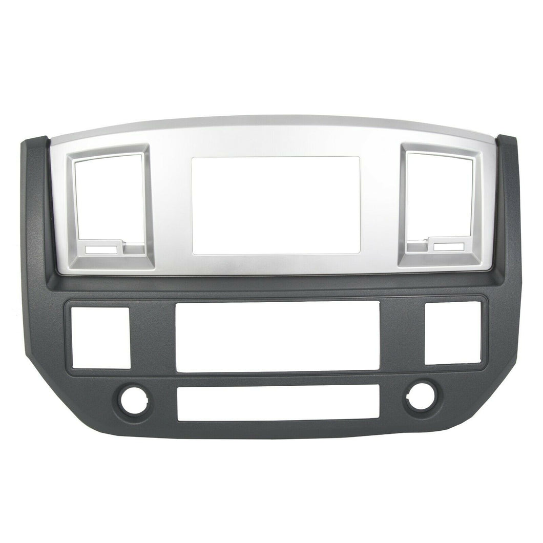 ET-160 Radio Double Din Dash Install Bezel Kit Silver Slate Grey Fits 2006-09 Dodge Ram