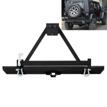 Load image into Gallery viewer, CA-109 Rear Offroad Bumper w/ Spare Tire Frame & D Ring For 87-06 Jeep Wrangler TJ YJ