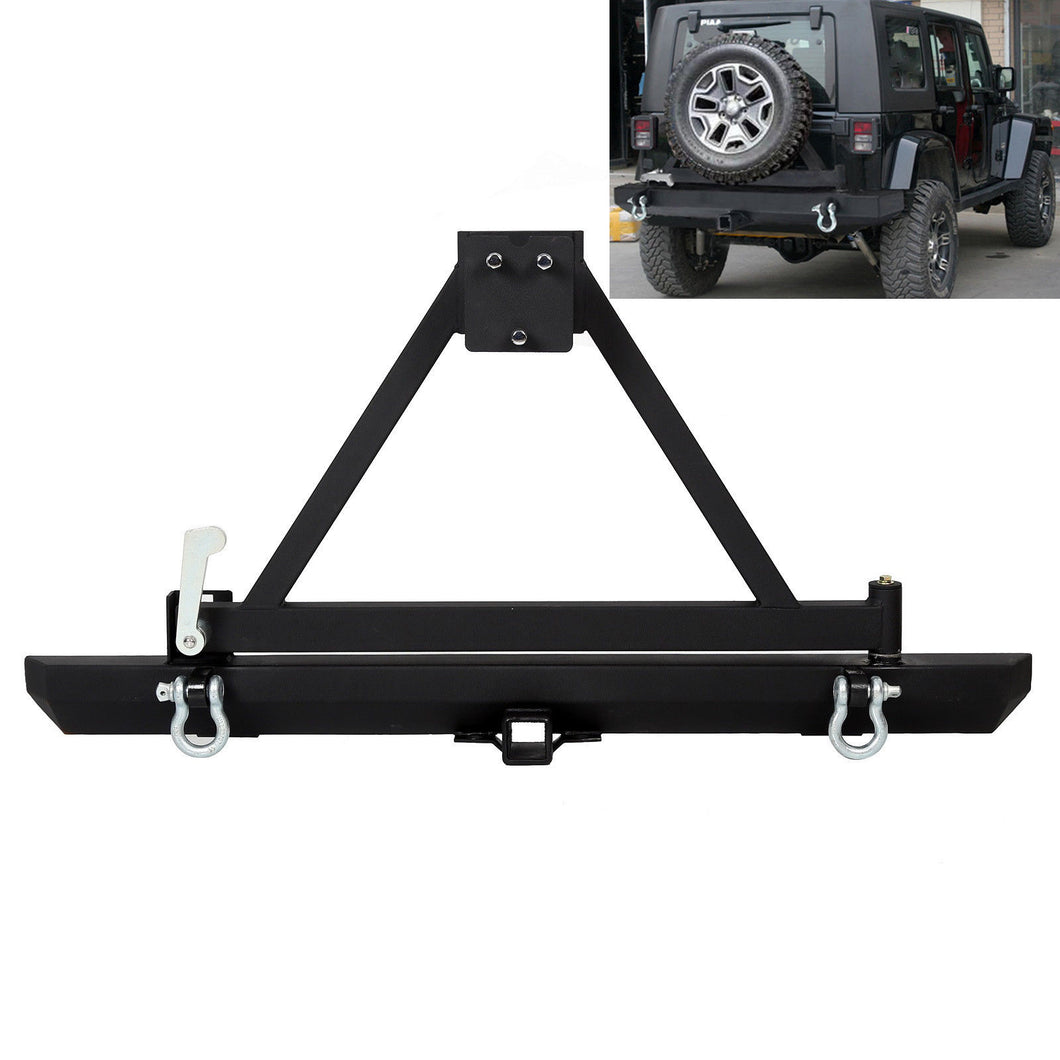 CA-109 Rear Offroad Bumper w/ Spare Tire Frame & D Ring For 87-06 Jeep Wrangler TJ YJ