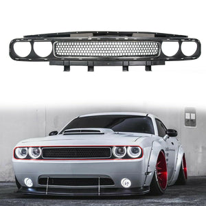 ET-092 Grille Black w/ Chrome Trim Molding Upper for 08-14 Dodge Challenger CH1200338