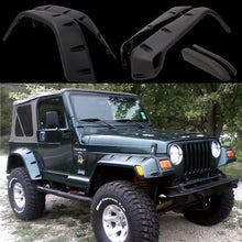 "Load image into Gallery viewer, 97-06 Jeep Wrangler TJ 7"" Wide Pocket Extended Fender Flares Kit Black"