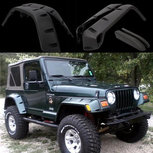 "97-06 Jeep Wrangler TJ 7"" Wide Pocket Extended Fender Flares Kit Black"