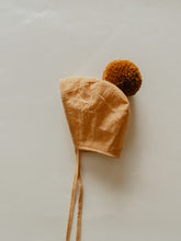 Load image into Gallery viewer, LINEN POMPOM BONNET | SAFFRON