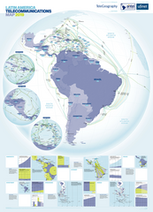 2019 Latin America Telecommunications Map (free shipping)