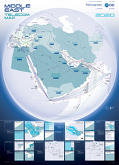 2020 Middle East Telecommunications Map (free shipping)