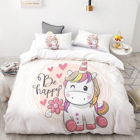 Be Happy Unicorn Quilt Cover Double Set - Unicornia