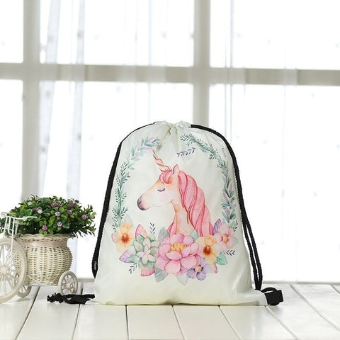 Unicorn Flower Power Drawstring Beach Bag