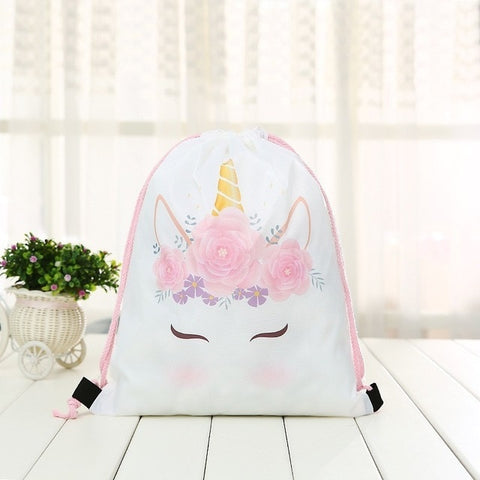 Unicorn Floral Drawstring Beach Bag