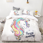 Kawaii Unicorn Quilt Cover Set