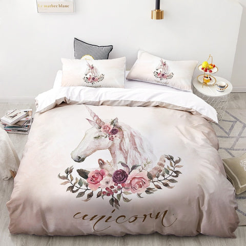 Floral Unicorn Quilt Cover Set