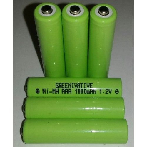 1000 mAh Nimh AAA Rechargeable Batteries