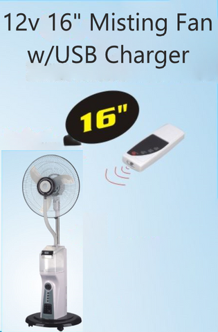 "12v 16"" Misting Fan w/USB Charger"