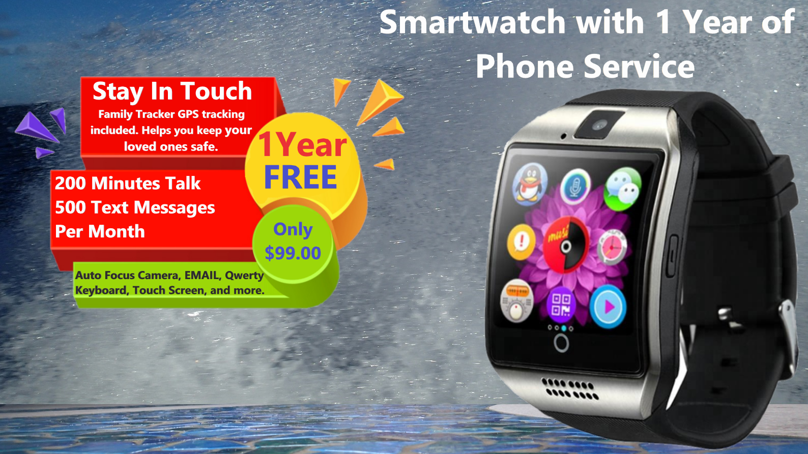 Smartwatch and Wireless Earbuds with 1 Year FREE Basic Phone Service and Family Tracker