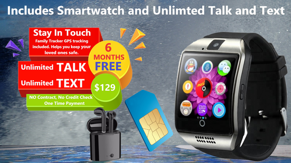 Smartwatch with 6 Months FREE Unlimited Talk, Text and 24GB Data and Family Tracker