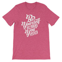 Inspirational-Men's Be Yourself T-Shirt-Heather Raspberry-S-StolenCompany