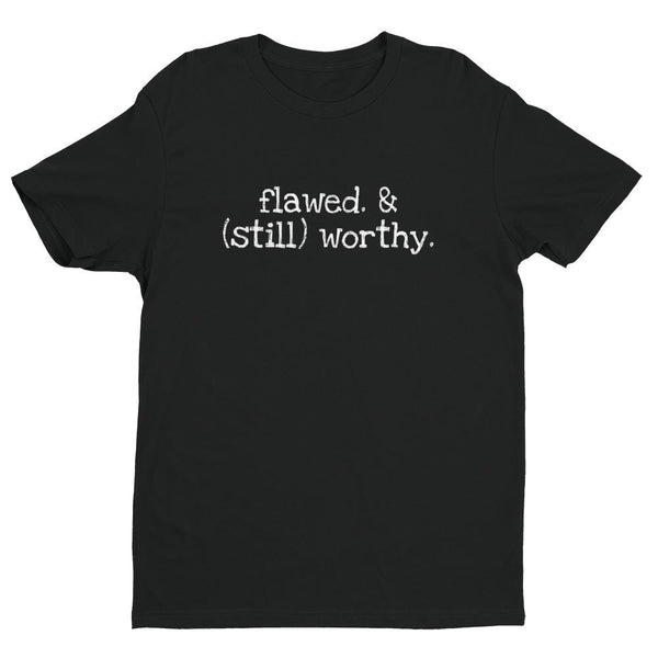 Inspirational-Men's Flawed & Still Worthy T-shirt-Black-XS-StolenCompany