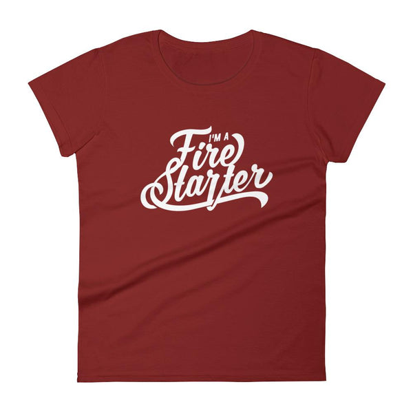 Inspirational-Women's Fire Starter T-Shirt-Independence Red-S-StolenCompany