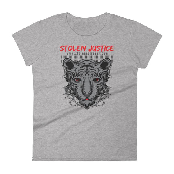 Inspirational-Women's Stolen Justice Red Eye T-shirt-Heather Grey-S-StolenCompany