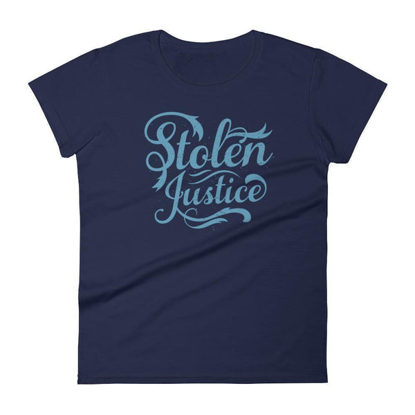 Inspirational-Women's Stolen Justice T-Shirt-Navy-S-StolenCompany