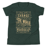 Inspirational-Youth Change The World Yourself T-Shirt-Heather Forest-S-StolenCompany