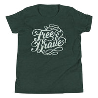 Inspirational-Youth Free and Brave T-Shirt-Heather Forest-S-StolenCompany