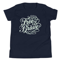 Inspirational-Youth Free and Brave T-Shirt-Navy-S-StolenCompany