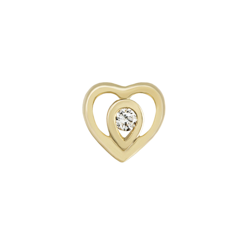 Metier by Tomfoolery: Ouvert Gold Heart Diamond Stud