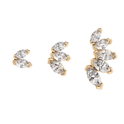 Metier by tomfoolery Dala Details Marquise Diamond Stud 9ct Yellow Gold