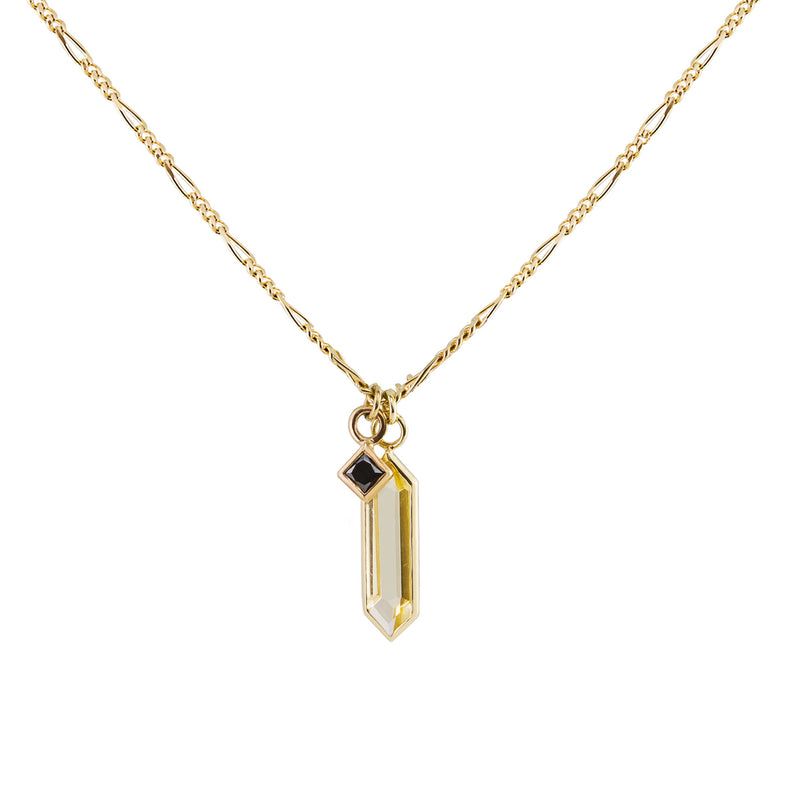 Metier by Tomfoolery: Citrine Hexa & Black Diamond London Chain Necklace