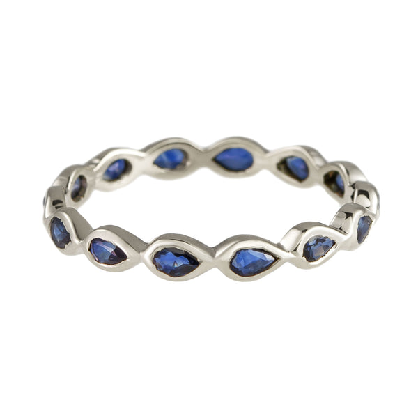 White Gold Blue Sapphire Eternity Ring