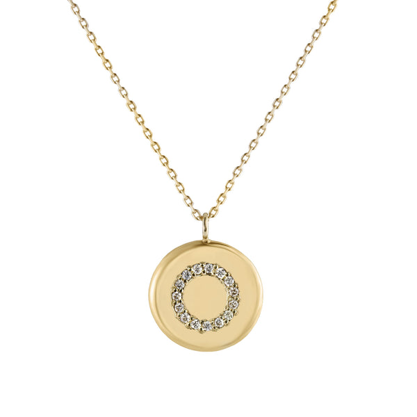 Metier by Tomfoolery: Diamond Coin Circle Pendant