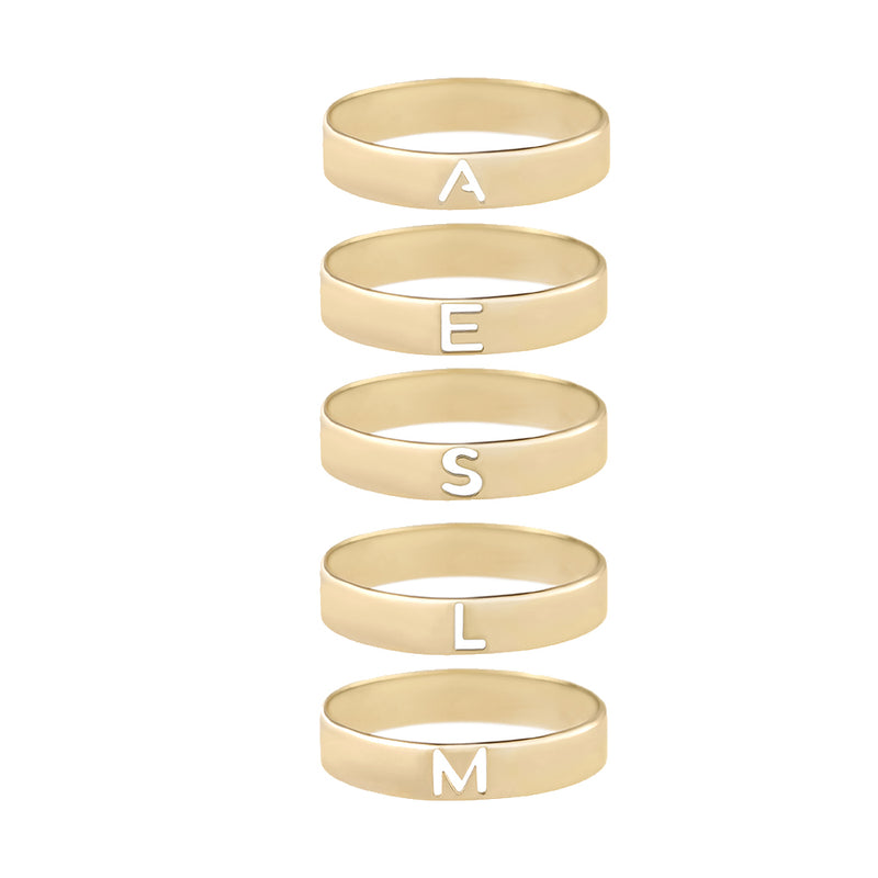Metier by Tomfoolery: Gold Alphabet Rings