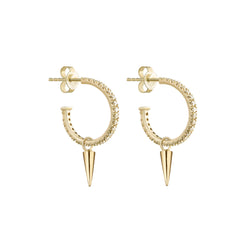 Metier by Tomfoolery: Large Original Diamond Pave Hoops with Gold Point Plaques