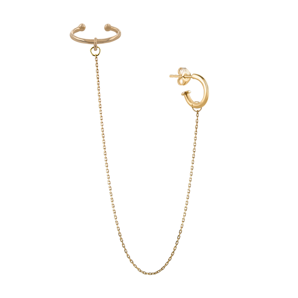 Metier by Tomfoolery: Extra Long Drop Ear Cuff Original Hoop Duo