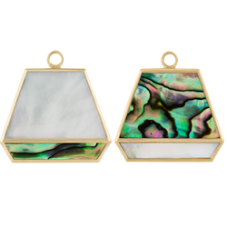 First Love Duo Mother of Pearl and Abalone Plaque. 9ct Yellow Gold