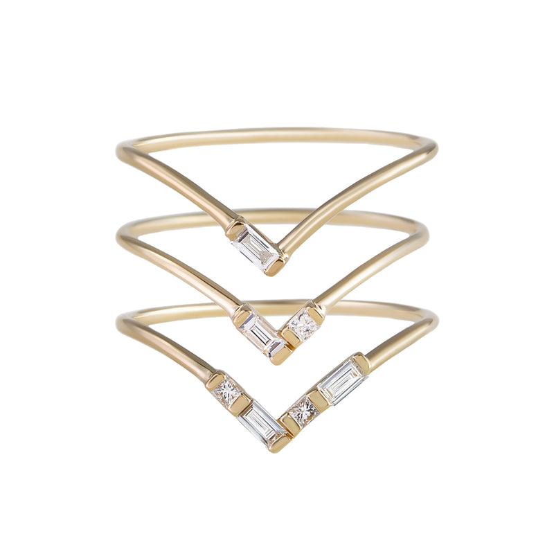 metier by tomfoolery: Baguette Diamond Halo Stack