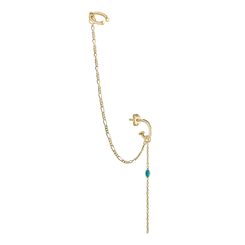 Métier by tomfoolery 9ct Yellow Gold Mini Hoop, London Chain add on, Drop Ear Cuff, Marquise Turquoise Chain Plaque