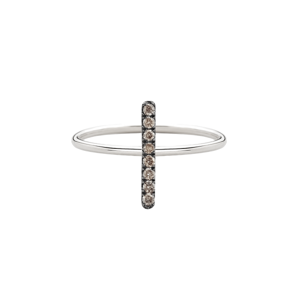 metier by tomfoolery: White Gold Champagne Diamond Bar Ring