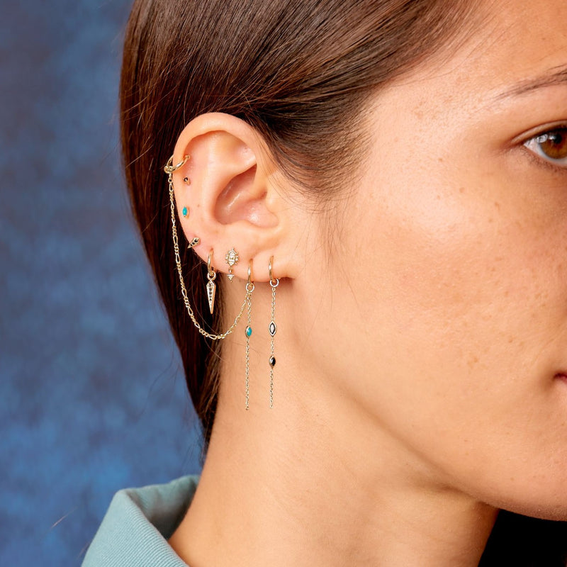 Métier Delicate 9ct Yellow Gold Black Diamond and Turquoise Marquise Chain Ear Story with Mini Hoop Earring, Dala Stud