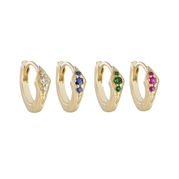 Petite Point Gemstone Huggies