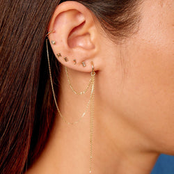 Métier Classic Gold Ear Story with Letter Studs in 9ct Yellow Gold, Ear Cuff, Add on and Chain Mini Hoop