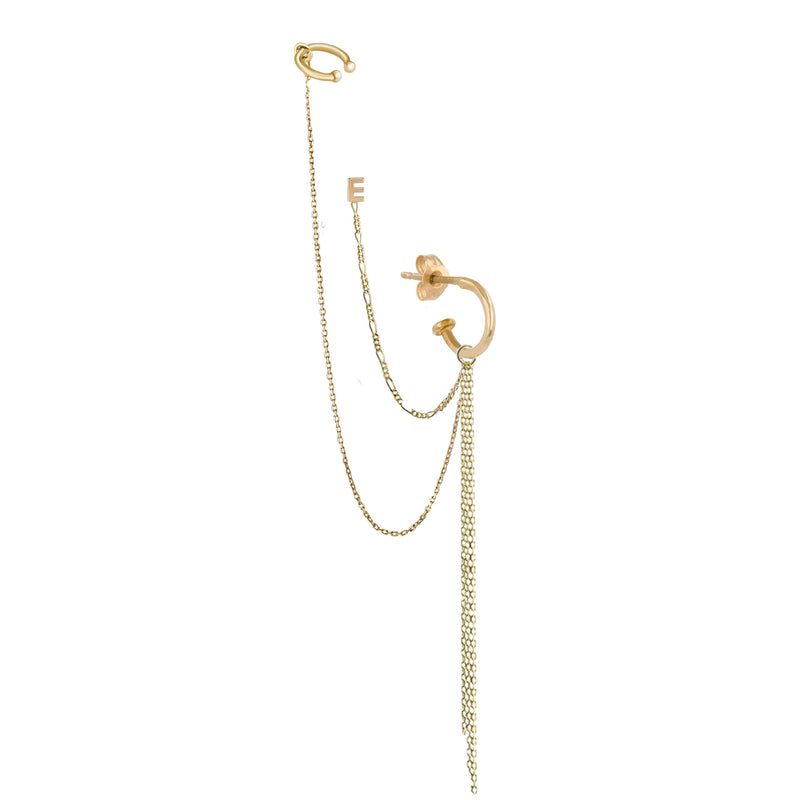 Métier 9ct Yellow Gold Hoop Earring, Long Chain Plaque, Add on Ear Cuff, London Chain Plaque, Letter E Stud