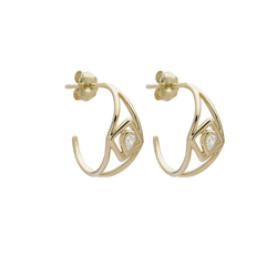 Metier by Tomfoolery: Ouvert Gold Square Diamond Hoops