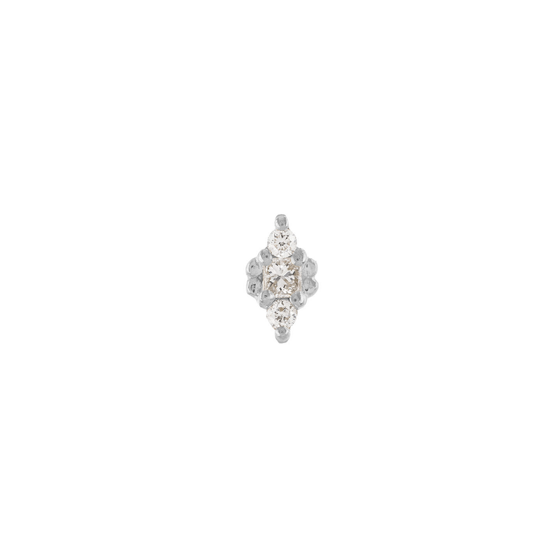 Metier by Tomfoolery: Dala 3 White Diamond Stud Earring