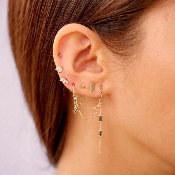 Black Diamond & Tourmaline Chain Ear Story