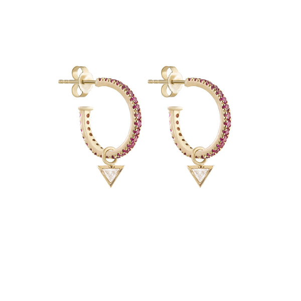 Metier by Tomfoolery: Large Original Pink Sapphire Pavé Hoops with Diamond Trillion Plaques
