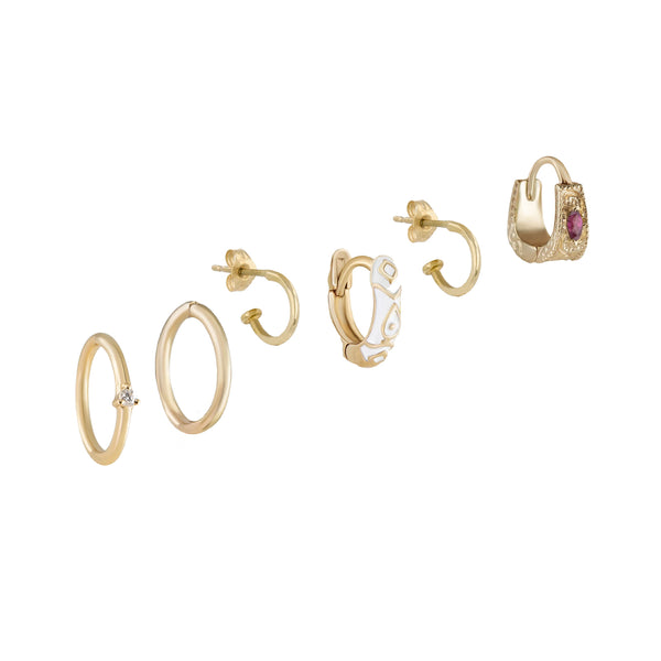 Métier by tomfoolery hoops and huggies ear story. 9kt yellow gold, white diamond, ruby and enamel.