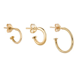 Métier by tomfoolery Original Plaque Hoops in 9ct Yellow and White Gold