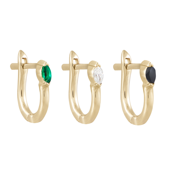 metier by tomfoolery: Claw set marquise gemstone huggies